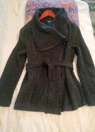 Пальто полупальто кофта на запах шерсть шерстяное букле