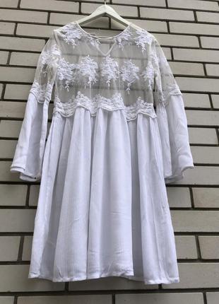 Белое кружевное платье туника aniston