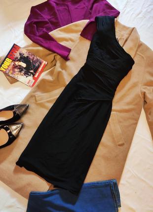 Coast платье чёрное вечернее коктейльное на одно плечо на подк...