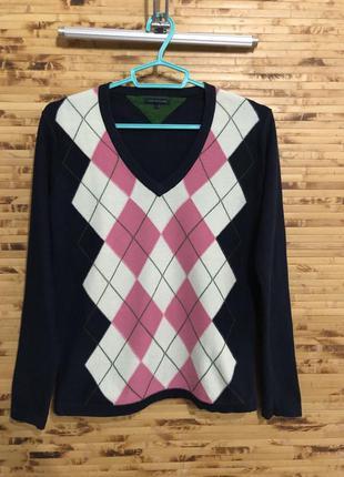 Кофта джемпер пуловер свитер tommy hilfiger синего цвета с рис...