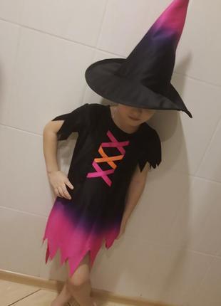 Карнавальный костюм на хэллоуин ведьмочка на 4- 6 лет