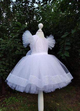 Белое праздничное  детское платье для девочки на любой рост