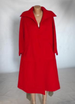 Пальто винтажное шерстяное. кейп красный оригинальный.