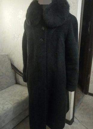 Пальто натуральная шерсть и песец