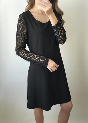 Платье чёрное мини короткое прямое кружево классическое базово...