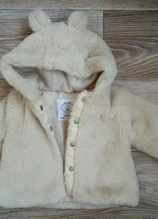 Теплое пальто,  шубка на осень 62 см