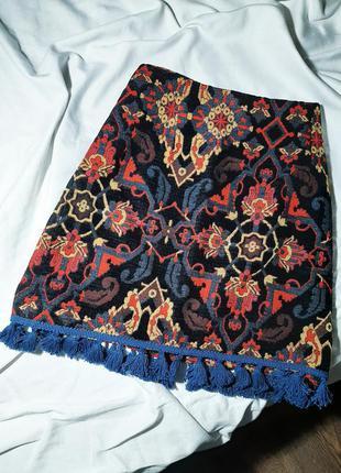 Винтажная мини юбка с бахромой в бохо стиле