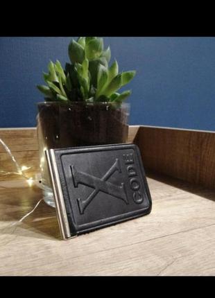 Черный зажим для денег. кожаный черный натуральный кошелек