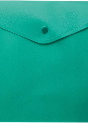 Папка-конверт А4 на кнопці, напівпрозора, зелений