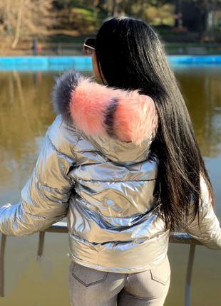 Женская куртка серебро