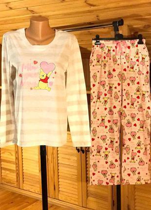 Женская коттоновая пижама трикотажный лонгслив+штаны байка, фл...