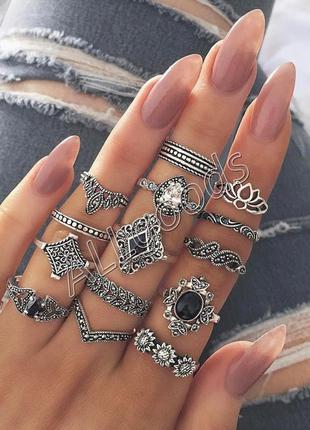 Кольца на фаланги. набор из 15 колец (ring15-sil)