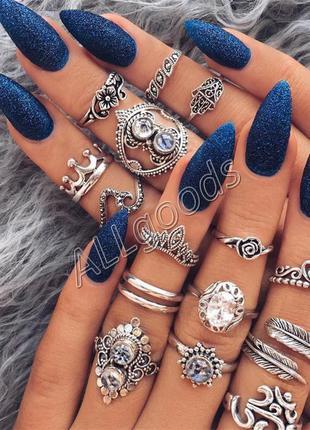 Кольца на фаланги. набор из 16 колец. цвет серебро (ring16stones)