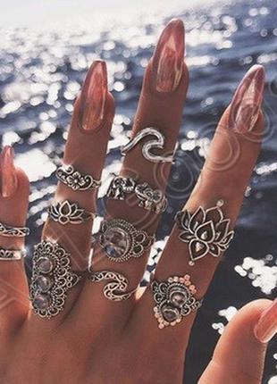 Кольца на фаланги. набор из 11 колец. цвет серебро (ring11lotus)