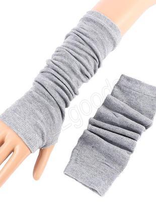 Митенки. длинные перчатки без пальцев серые