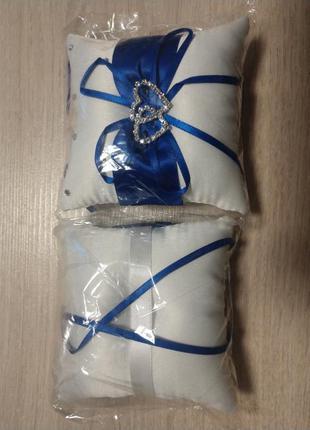 Подушка под свадебные кольца 10х10см (белая с синим)