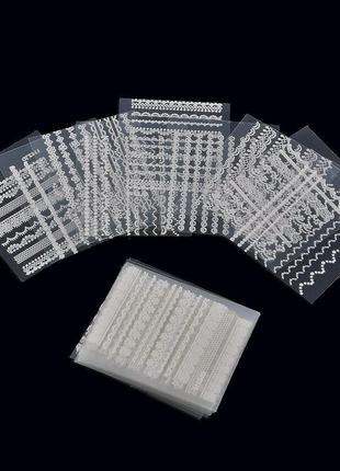 Наклейки белые для декора ногтей 30 штук