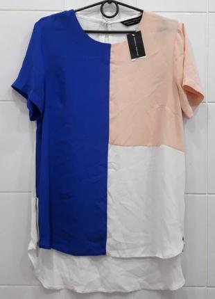 В наличии трендовая шифоновая футболка блуза комби с замочками