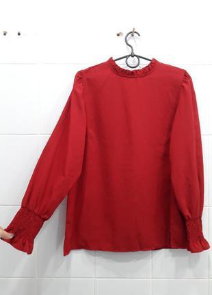 Стильная шифоновая цветочная блуза с интересными рукавами