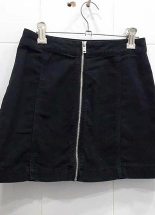Графитовая джинсовая юбка с молнией спереди