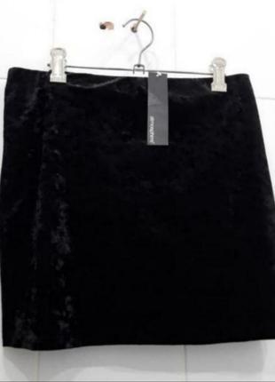 Стильная мраморная велюровая юбка на резинке