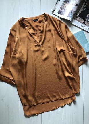 Горчичная легкая блуза большого размера