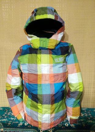 Куртка в клетку с капюшоном 146/152 см
