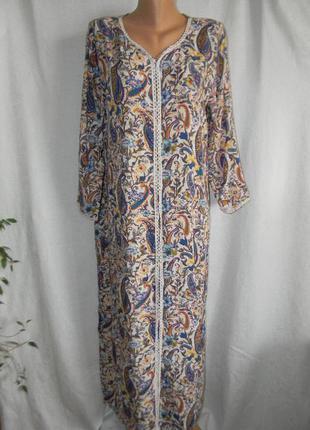 Длинное натуральное платье с принтом