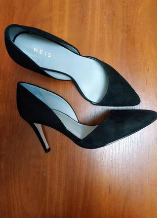 Черные замшевые туфли лодочки reiss