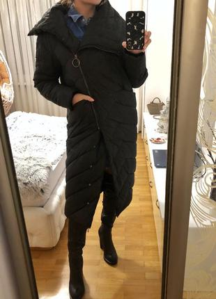Черный теплый пуховик удлиненный размер м