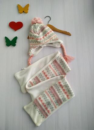 Комплект-шапка+шарф на флисовой подкладке
