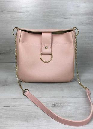 Молодежная женская сумка ева пудрового цвета 551100