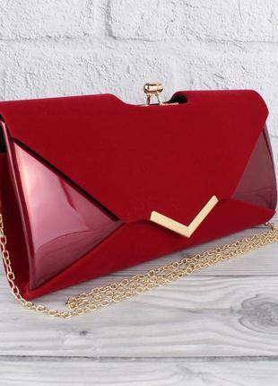 Вечерний клатч бордовый велюр/лак, сумочка rose heart 002, рас...