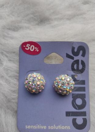 Белые серебряные круглые маленькие сережки серьги с блестящими...
