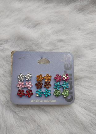 Серебряные маленькие разноцветные сережки серьги набор гвоздик...