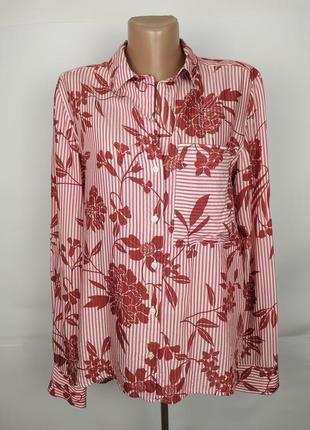 Блуза натуральная красивая в цветы next uk 10/38/s