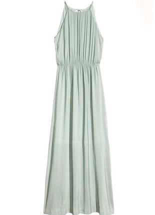 Длинное мятное платье h&m с разрезами