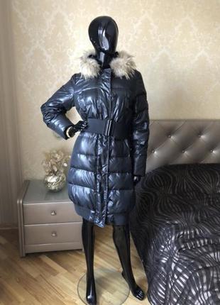 Куртка/пальто пуховик benetton, размер с-м, енот