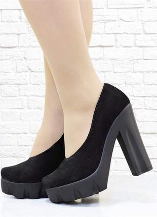 Туфли на тракторном каблуке, черные
