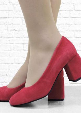 Женские туфли на каблуке se7en красные