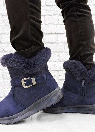 Зимние женские ботинки fury. синий.