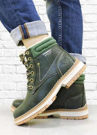 Женские зимние ботинки на шнуровке. зеленые.