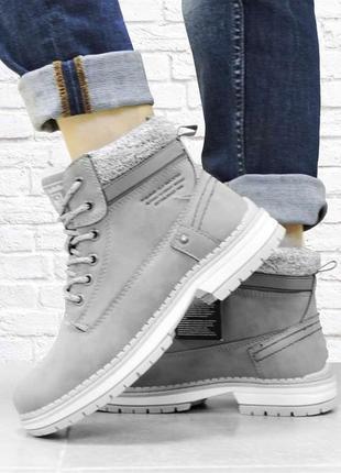 Женские зимние ботинки на шнуровке. серые.