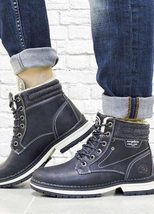 Женские зимние ботинки на шнуровке. синие.
