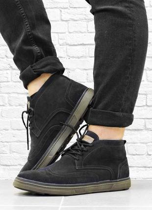 Замшевые зимние ботинки master. черные.