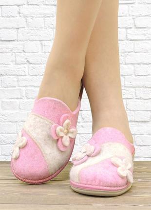 Войлочные женские тапочки. розовые.