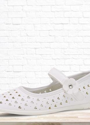 Туфли для девочки hearts. белые.