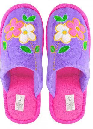 Текстильные тапочки цветы. фиолетовые.