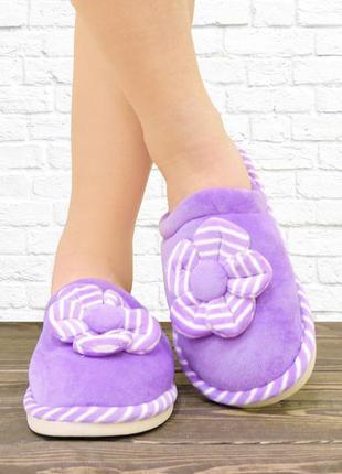 Женские тапочки цветок. фиолетовые.