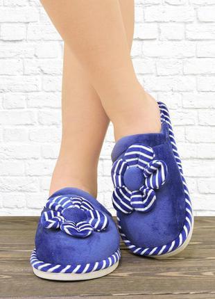 Женские тапочки цветок. синие.